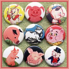 9 lil PIGGIES 1 inch buttons medallions or by SugarPlumRobots