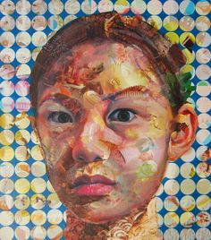 """Jeff Huntington, """"You Are What You Eat (Chloe)"""", Magazine clippings and acrylic on masonite, 34"""" x 30"""".  Courtesy of Porter Contemporary."""