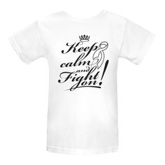 Lung Cancer Keep Calm and Fight On Women's White Organic T-Shirt | Hope Dreams Cancer Awareness Ribbon Shirts and Gifts