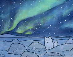 Une illustration aquarelle et encre dune Arctic Fox sur la toundra et les aurores boréales dans un ciel étoilé.  11 x 14 Print signé et non daté