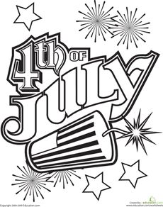 Fourth Of July Coloring Page Worksheet