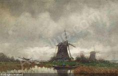 SCHIEDGES Petrus Paulus - Holländische Polderlandschaft mit Windmühlen