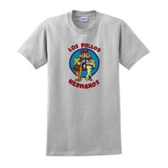 Los Pollos Hermanos Chickn Brothers Short Sleeve Inspired T-shirt Breaking Bad AMC TV show tee Full Color Small Ash