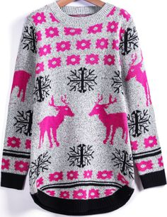 Shop Grey Long Sleeve Snowflake Deer Print Sweater online. Sheinside offers Grey Long Sleeve Snowflake Deer Print Sweater & more to fit your fashionable needs. Free Shipping Worldwide!