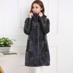 aea57cad6d6f Купить товар Последние новинки зимнее пальто женский овчины кожаная куртка  длиной шуба стрижка овец подарок M