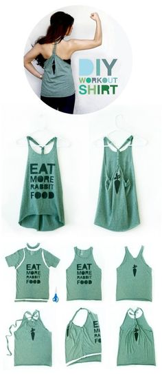DIY workout shirt! I do this to all of my old boy cut tees and it's perfect for zumba!