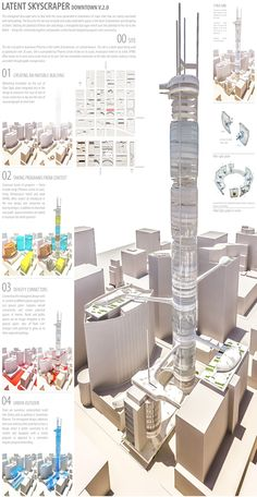 Latent Skyscraper | Most tall buildings are found in city centers of most major cities globally. These city centers are also known as the downtowns, they carry a different urban grain due to the inherent density of tall buildings. In order to reimagine the tall buildings well, it would be most effective to consider them in the downtown context. ...