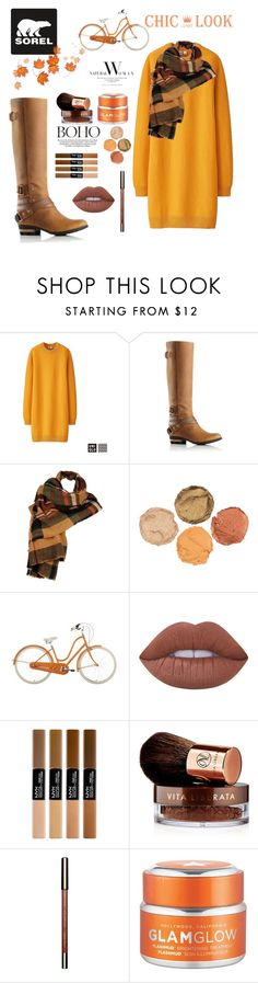 """""""Kick Up the Leaves (Stylishly) With SOREL: CONTEST ENTRY"""" by constance1998 ❤ liked on Polyvore featuring Uniqlo, SOREL, Wilsons Leather, Lime Crime, Vita Liberata, GlamGlow and sorelstyle"""