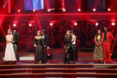 """DANCING WITH THE STARS: ALL-STARS: THE RESULTS SHOW - """"Episode 1502A"""" - The """"Dancing with the Stars: All-Stars: The Results Show"""" aired TUESDAY, OCTOBER 2 (9:00-10:00 p.m., ET), on ABC.  (ABC/ADAM TAYLOR) Joey Fatone and his partner Kym Johnson, Sabrina Bryan and her partner Louis Van Amstel, Drew Lachey and his partner Anna Trebunskaya and Emmitt Smith and his partner Cheryl Burke await their fate on 'Dancing With The Stars: The Results Show' on Tuesday, Oct. 2, 2012."""