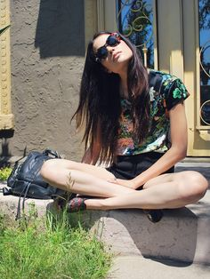 Izumi of HYBRID HUNTER in our Saltwater Gypsy Kurt Cobain Sunnies! Available on line at www.saltwatergypsy.etsy.com