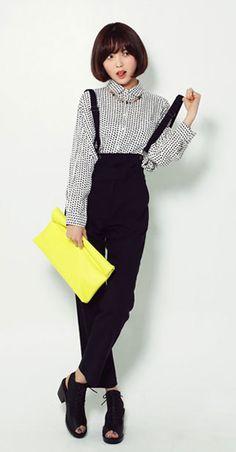 Black overalls - striped shirt