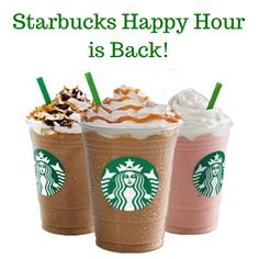 Starbucks Happy Hour is back! For a limited time get half off Frappuccino Blended Drinks!!