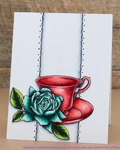 Altenew Bold Blossom Stamp Set, Altenew Vintage Teacup Stamp Set, Lawn Fawn Valentine Border Die, Copic, #altenew #boldblossom #vintageteacup #lawnfawn #valentineborderlawncut, #copic #cas #onelayer #butterflyreflectionsink