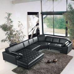 Hokku Designs Vacaville Right Hand Facing Sectional Large Sectional, Modular Sectional Sofa, Leather Sectional Sofas, Living Room Sectional, Modern Sectional, Sleeper Sectional, Sofa Furniture, Living Room Furniture, Canapé Cuir Design