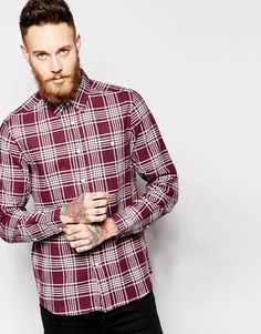 Image 1 ofASOS Linen Mix Shirt In Long Sleeve With Check