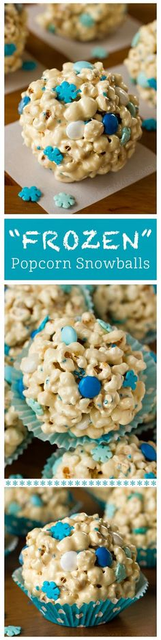 "DIY : ""Frozen"" Popcorn Snowballs in the Group Board ♥ CREATIVE and ORIGINAL FOOD (KIDS preferably) http://www.pinterest.com/yourfrenchtouch/creative-and-original-food-kids-preferably"