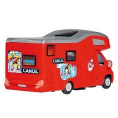 De Dickie Toys Camper Van. Het dak kan eraf voor extra speelplezier met het interieur. De Camper Van is voorzien van een frictiemotor: dit houdt in dat als je de camper stevig naar voren duwt dat de frictiemotor er voor zorgt dat de camper extra lang doorrijdt. Afmeting: lengte camper 20 cm - Camper Van Rood BT