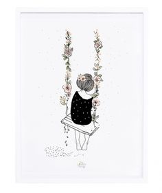 Rosae Swing - Poster van My Lovely Thing - Lilipinso bij www. Little Girl Illustrations, Let's Make Art, Et Tattoo, Poster Online, Geniale Tattoos, Cute Illustration, Cute Drawings, Art Tutorials, Painting & Drawing