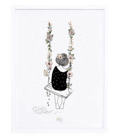 décoration affiche et cadre blanc balançoire et fleurs