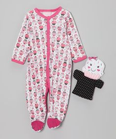 Look what I found on #zulily! Pink Cupcake Footie & Puppet - Infant by Duck Duck Goose #zulilyfinds