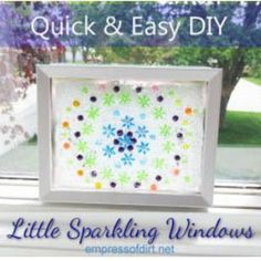 Use glass gems to make little sparkling windows (or picture frames) and faux stained-glass windows.