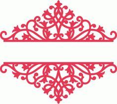 Silhouette Design Store - View Design #78774: ornamental flourish damask swirl split