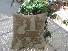 Plump Easter Bunny Burlap Pillow, Happy Easter Decor 12E by THISPLUSTHAT on Etsy