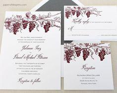 Winery Wedding Invitation, Vineyard Wedding Invitation, Wine Wedding Invitation, Grapevine Wedding Invitation - Deposit to Get Started by paperwhitespress on Etsy