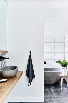Soul of Gerringong house renovation. In the main guest bedroom, the custom stone bath and basin were imported from overseas. Bathroom Inspo, Bathroom Styling, Bathroom Inspiration, Bathroom Ideas, Bathroom Bin, Cream Bathroom, Bamboo Bathroom, Restroom Ideas, Bathroom Canvas