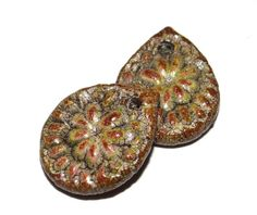 Ceramic Charms Pair Colourfully Rustic Textured Handmade by Grubbi