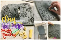 Clay Slab Wall Pocket with Pasta Noodle Designs #claywallpocket #easywallpocket #clayforkids #pastanoodleprinting #printingclay #ceramicswallpocket #aftershcoolartclay #pastaprint #clayideas