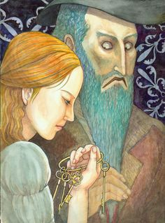 """""""Blue Beard""""- Illustration by Sae Jung Choi - Written By Charles Perrault - A Fairy Tale From France  (1697)"""
