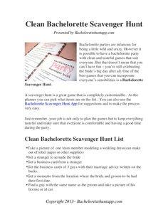 Clean Bachelorette Party Scavenger Hunt