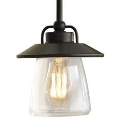 allen + roth 6-7/8-in W Edison Mission Bronze Mini Pendant Light with Clear Shade This product by allen + roth works with .  Mission bronze finish and