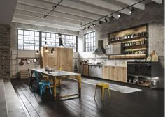 Industrial+Loft+Kitchen+with+Rustic+Yellow+Table%2C+exposed+brick+wall%2C+and+concrete+wall
