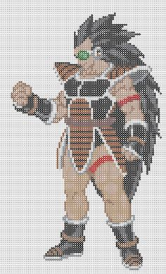 Raditz Dragon Ball Perler Bead Pattern by Sebastien Herpin