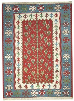 This beautiful Handmade Knotted Rectangular rug is approximately 7 x 10 New Contemporary area rug from our large collection of handmade area rugs with Persian Kilim style from Turkey with Wool