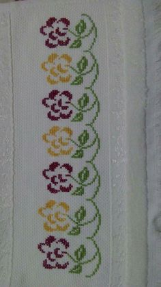 Embroidery on a handtowel༺✿༻ This post was discovered by Mu Barbara R. 123 Cross Stitch, Cross Stitch House, Cross Stitch Bird, Cross Stitch Borders, Cross Stitch Flowers, Cross Stitch Designs, Cross Stitching, Cross Stitch Patterns, Free Motion Embroidery