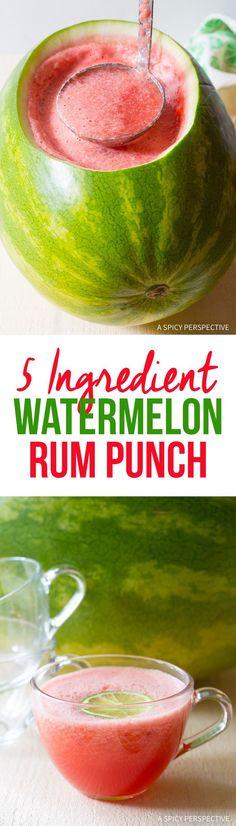 Fabulous 5-Ingredient Watermelon #rum Punch Recipe #summer #cocktails via @spicyperspectiv