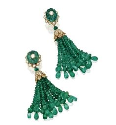 Gold, Emerald Bead and Diamond Tassel Earrings