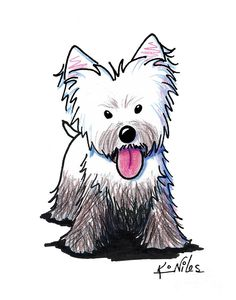 Westie Muddy Westie Drawing