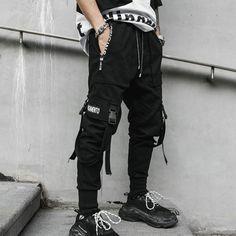 😍 2019 Spring Hip Hop Joggers Men Black Harem Pants Multi-pocket Ribbons Man Sweatpants Streetwear Casual Mens Pants 😍 by Felligo starting at. Cargo Pants Men, Sport Pants, Jogger Pants, Mens Urban Streetwear, Style Streetwear, Streetwear Clothing, Slim Fit Joggers, Mens Joggers, Emo Outfits