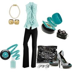 Turquoise and Black, created by pamela-barrett-williamson on Polyvore