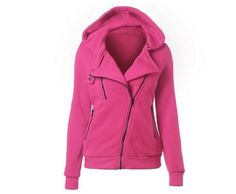 Women's Fashion Long-Sleeve Hooded Solid-Colored Zipper Front Sweatshirt Jacket 6 Colors S-2XL