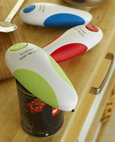 Touch and go can opener! Much less counter space taker upper than other electric can openers!