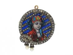 Antique Victorian Diamond and Limoges Enamel Portrait Brooch