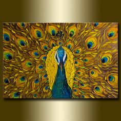 Original Peacock Oil Painting Textured Palette Knife 20X30 by Willson Lau $435