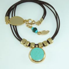 Turquoise NecklaceGemstones Necklace 24k Gold & by inbalmishan