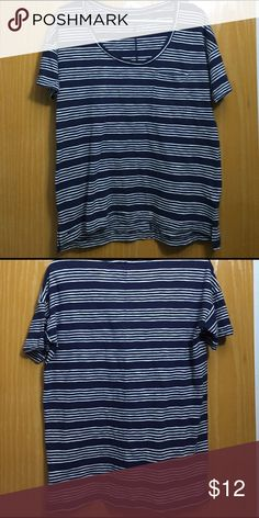 NWOT Level Eight boyfriend striped t-shirt Navy with white striped. Pocket in front. Slightly higher hem in front. Size says XS but would be oversized. It's more like a S/M. Tops Tees - Short Sleeve
