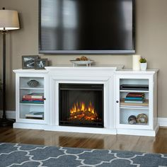 Frederick 72 in. Entertainment Center Electric Fireplace in White